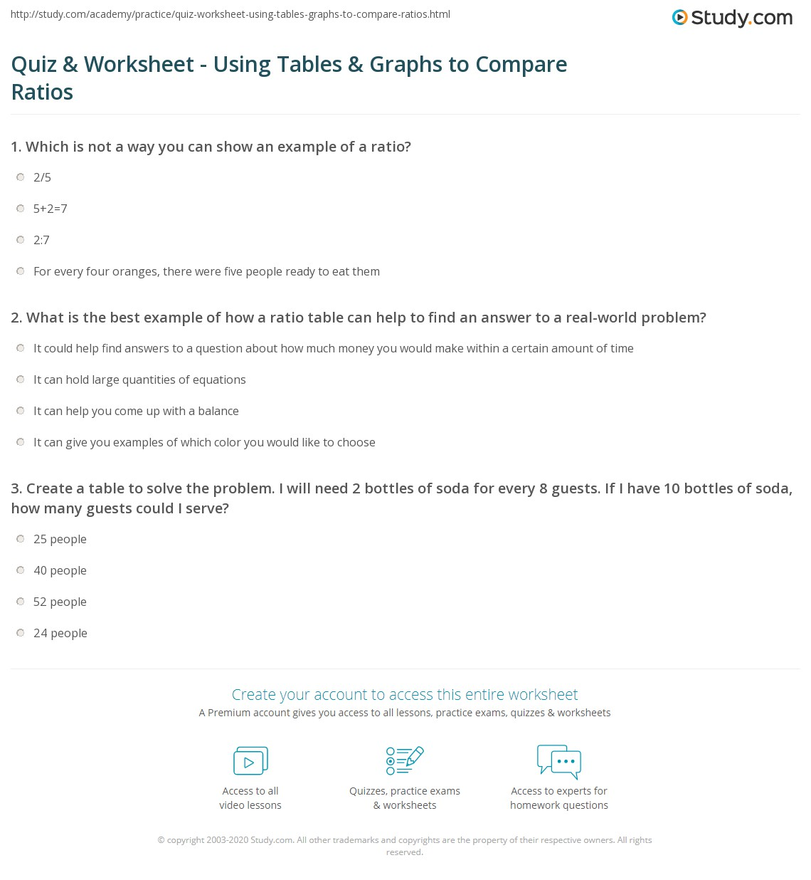 Comparing Tables Graphs And Equations Worksheets