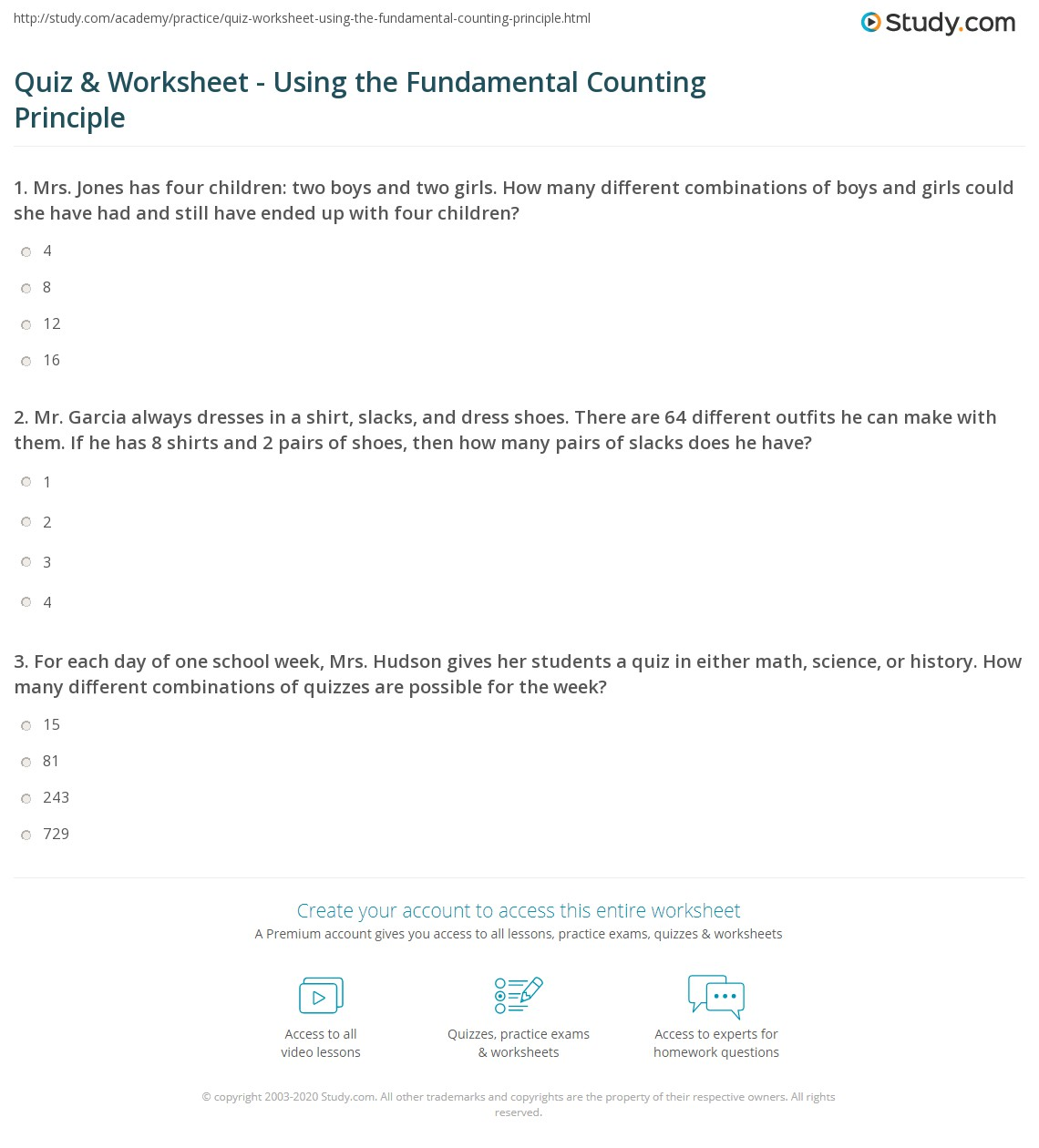 New 878 Counting Principle Worksheets