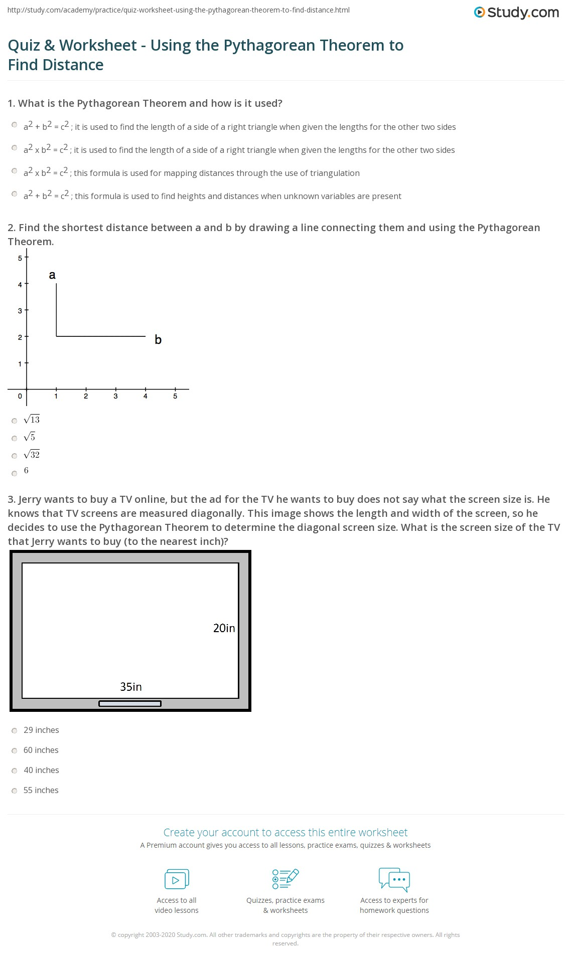 Middle School Math Worksheets Pythagorean Theorem