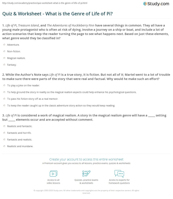 Quiz W Ksheet Wh T Is Genre Of L E Of Pi Study