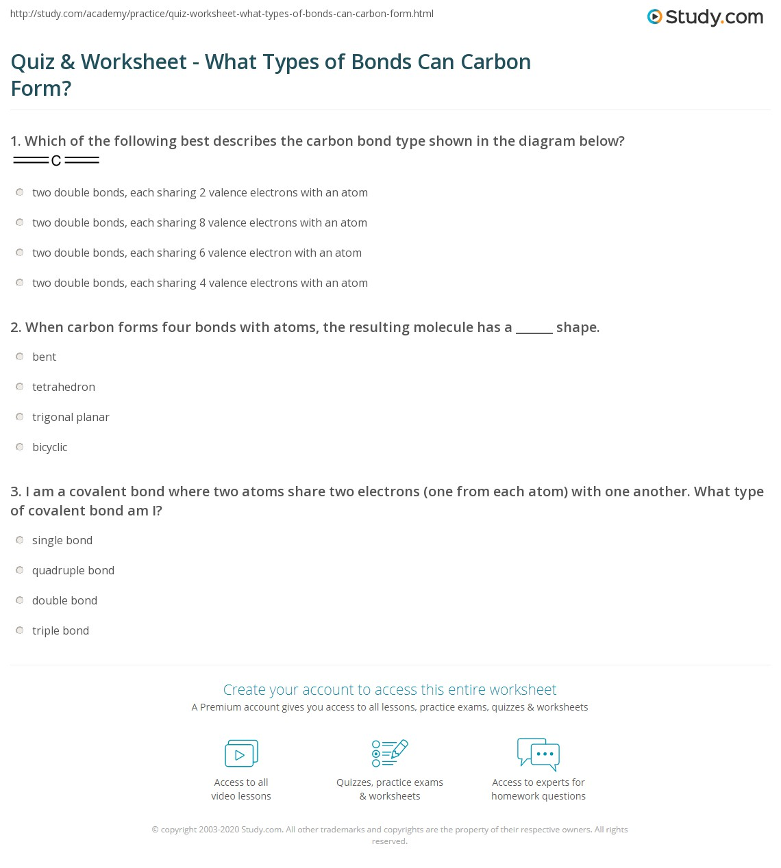 Types Of Bonds Worksheet