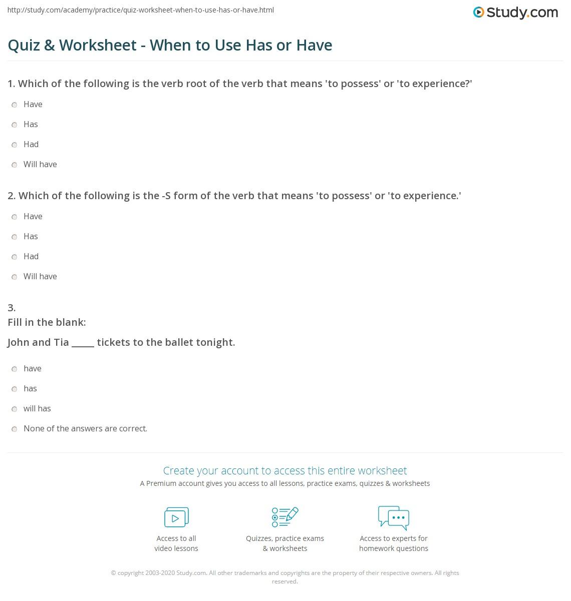 Had Worksheet