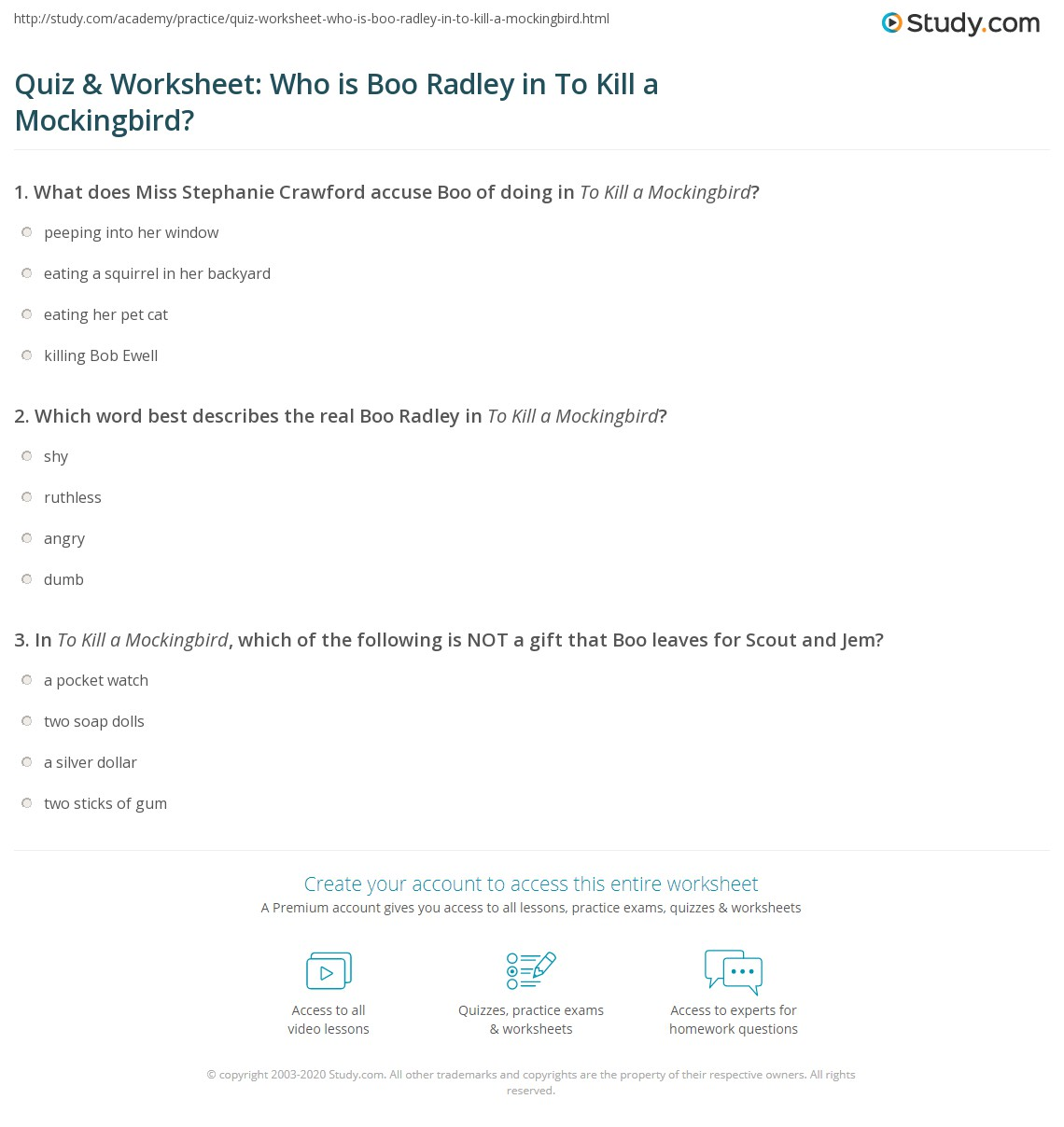 Quiz Amp Worksheet Who Is Boo Radley In To Kill A