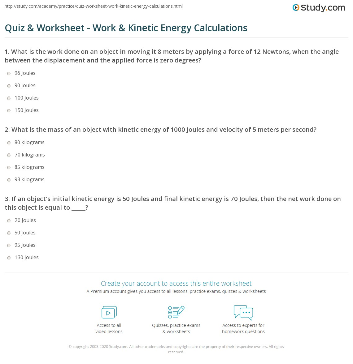 Printables Of Energy Calculation Worksheet