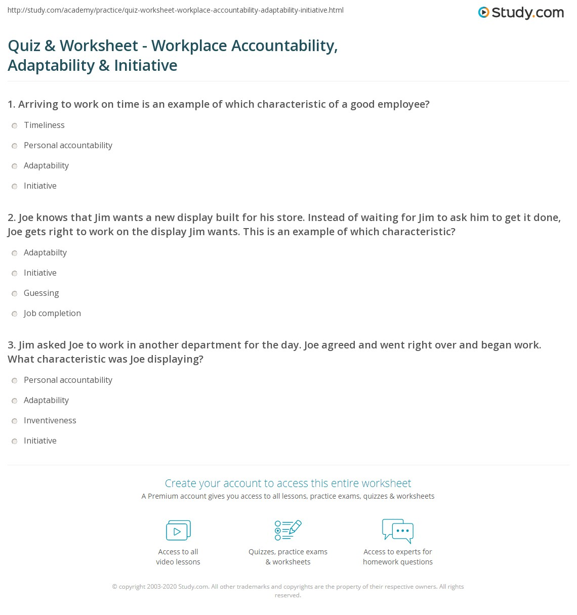 Taking Accountability Worksheet