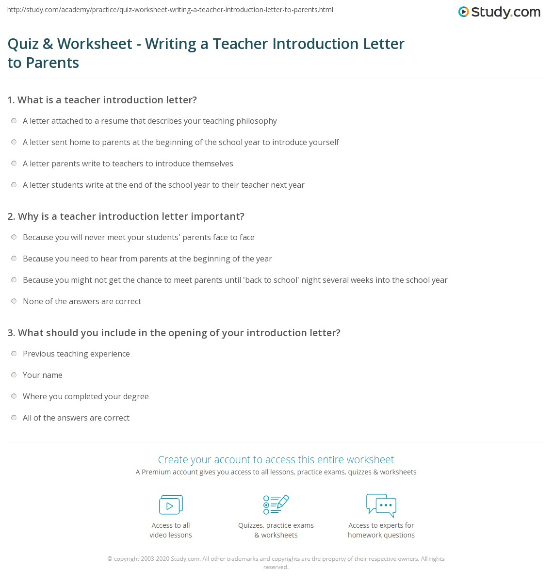 Student Introduction Worksheet