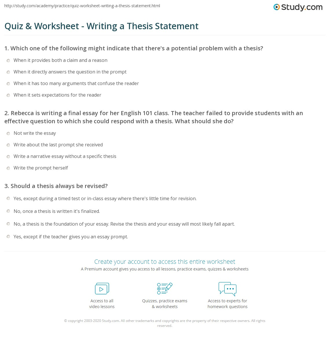 Write A Good Thesis Statement For An Essay Your Strongest