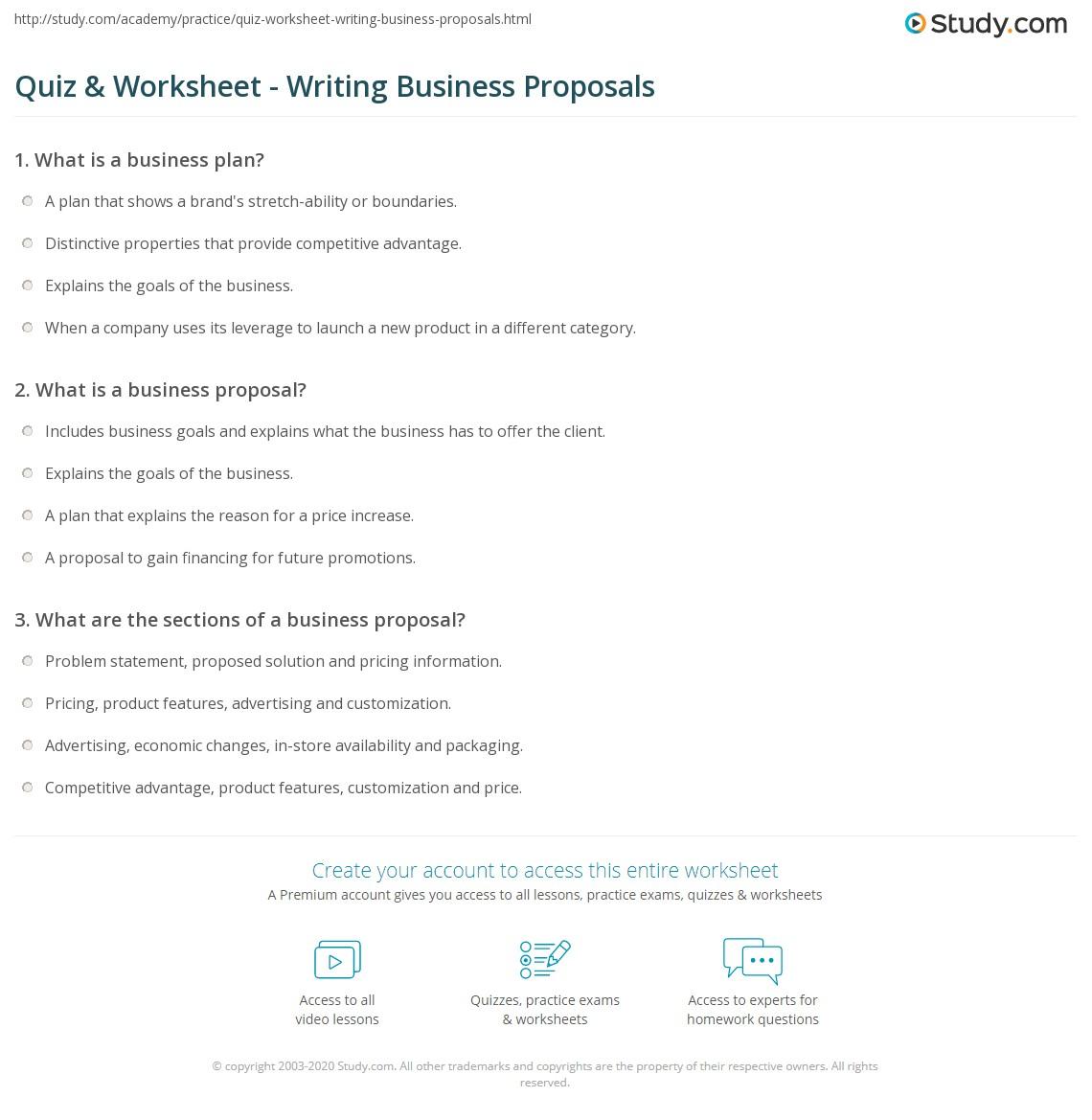 Business Proposal Worksheet