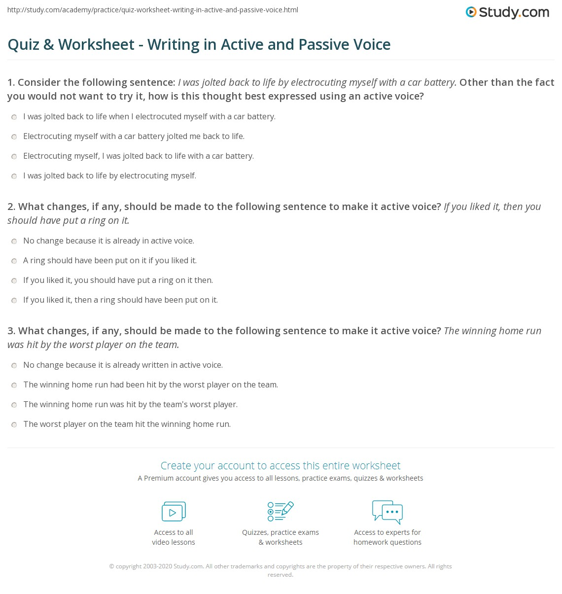 Worksheet Active To Passive