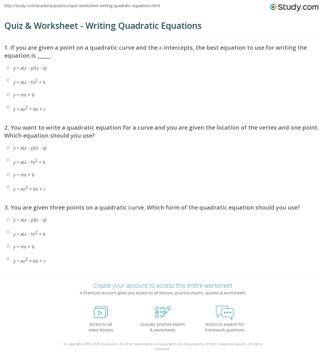 Writing Equations Of Exponential Functions Given Two Points Worksheet