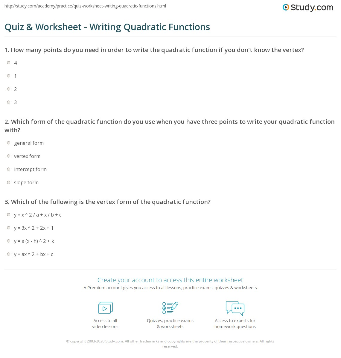 Worksheet Writing Quadratic Functions A 3 3