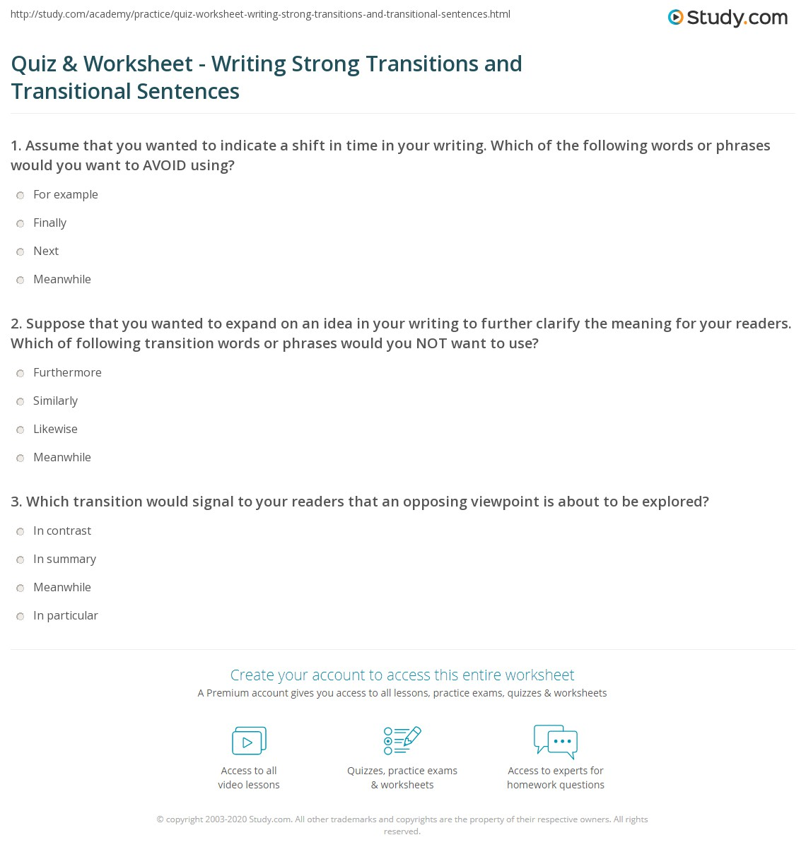 Worksheet Transitional Words And Phrases Worksheet