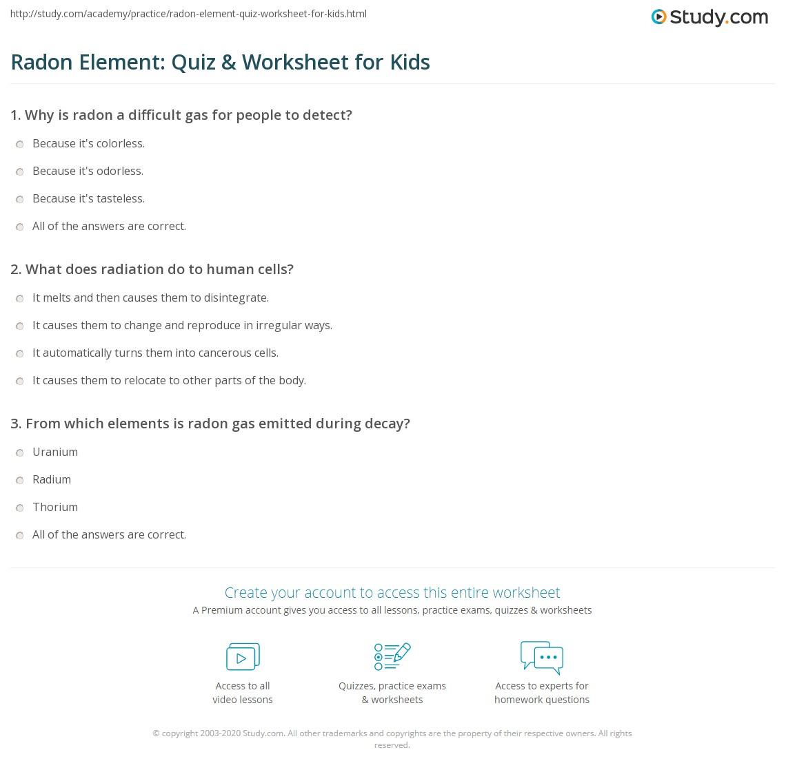 Radon Element Quiz Amp Worksheet For Kids