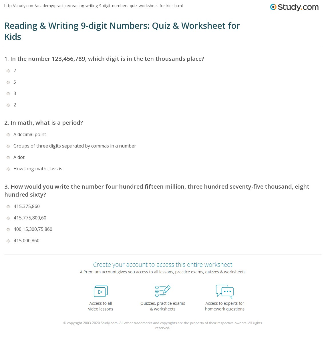 Reading Amp Writing 9 Digit Numbers Quiz Amp Worksheet For