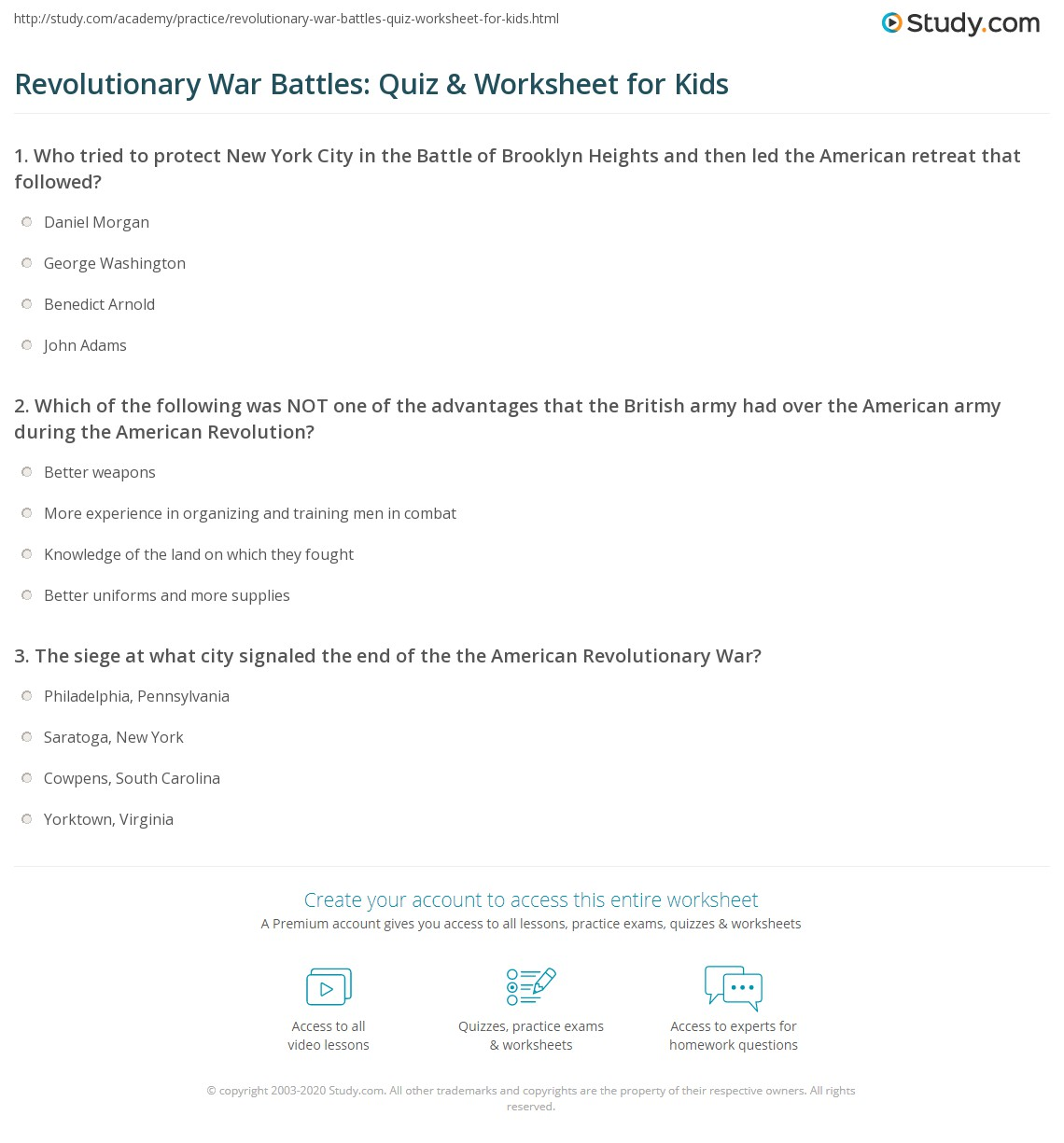 Revolutionary War Battles Quiz Amp Worksheet For Kids