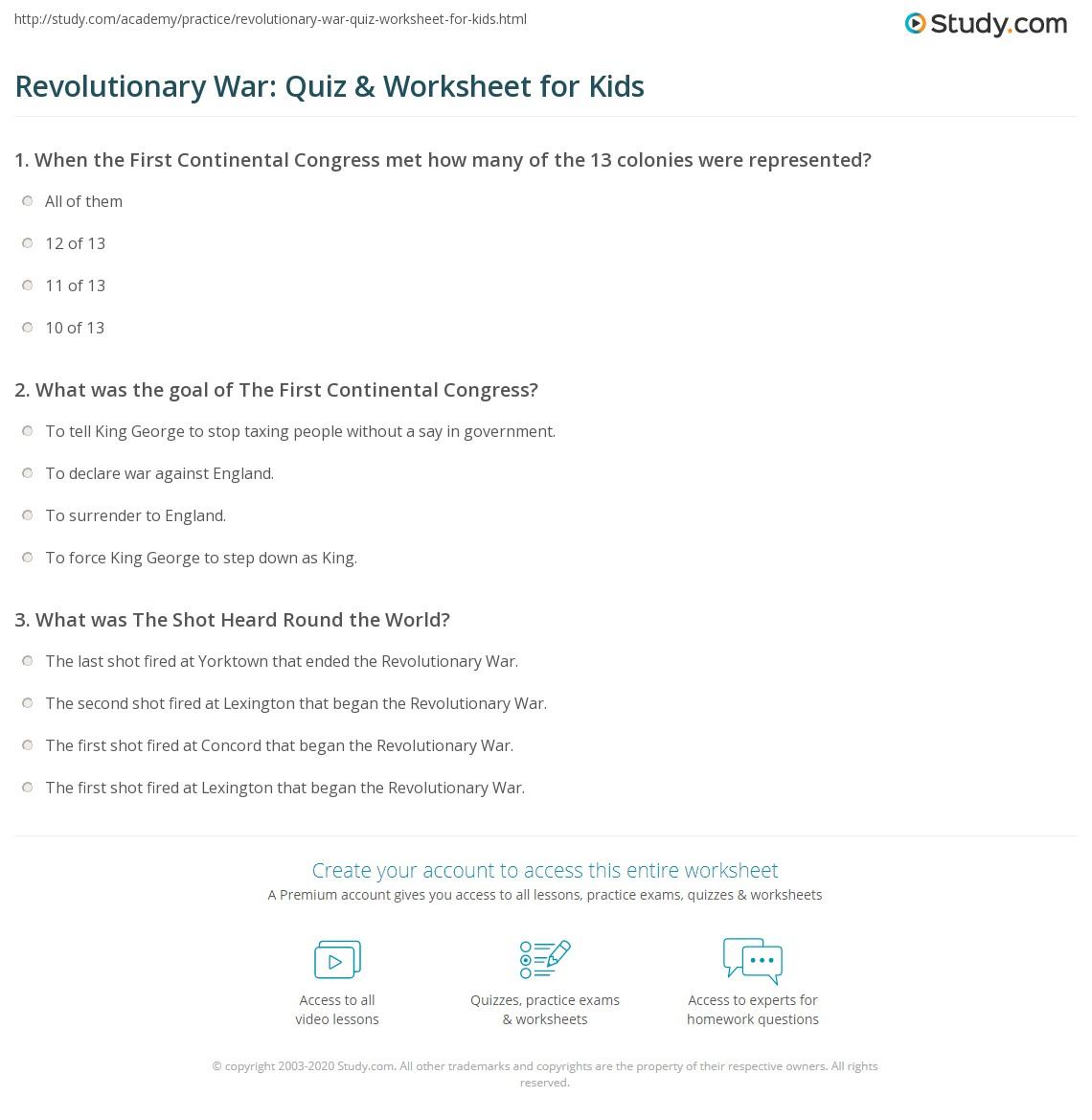 Revolutionary War Quiz Amp Worksheet For Kids