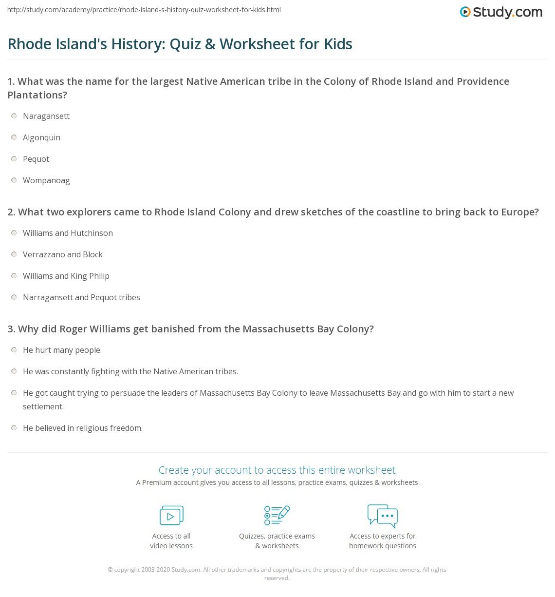 Rhode Island S History Quiz Amp Worksheet For Kids