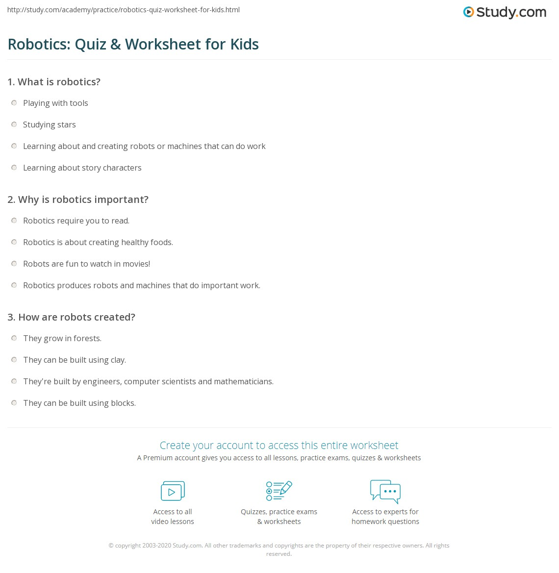 Robotics Quiz Amp Worksheet For Kids