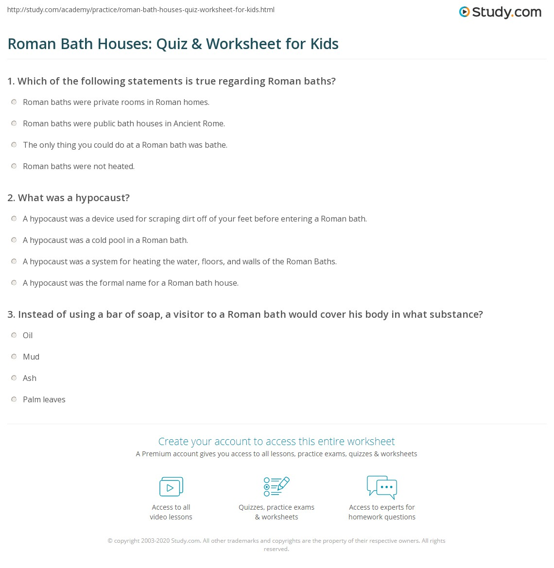 Roman Bath Houses Quiz Amp Worksheet For Kids