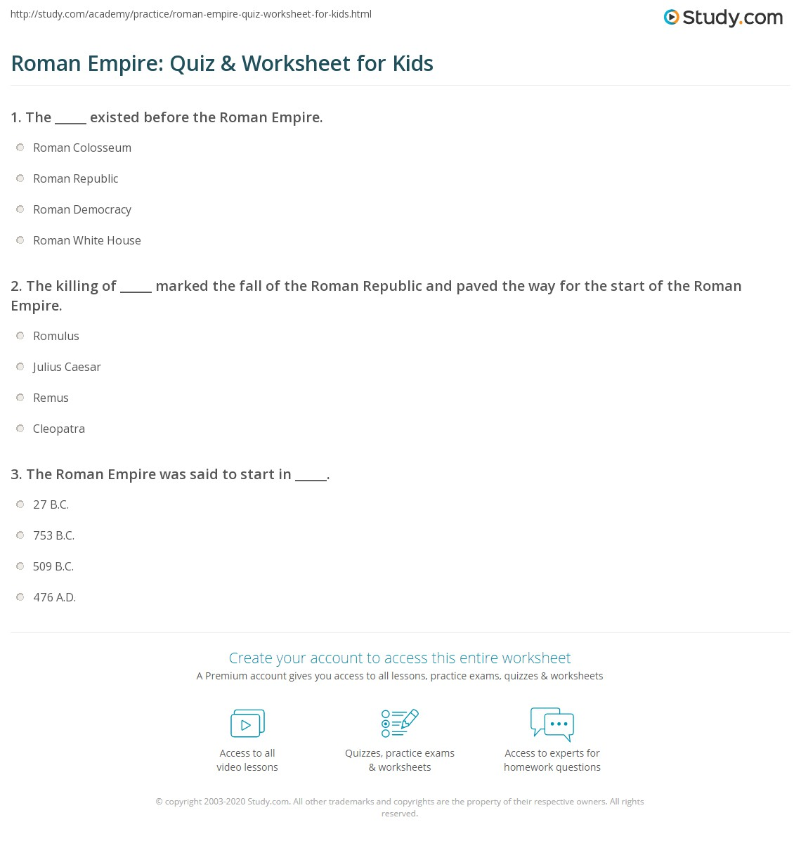 Roman Empire Quiz Amp Worksheet For Kids