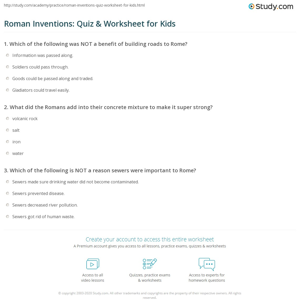 Roman Inventions Quiz Amp Worksheet For Kids