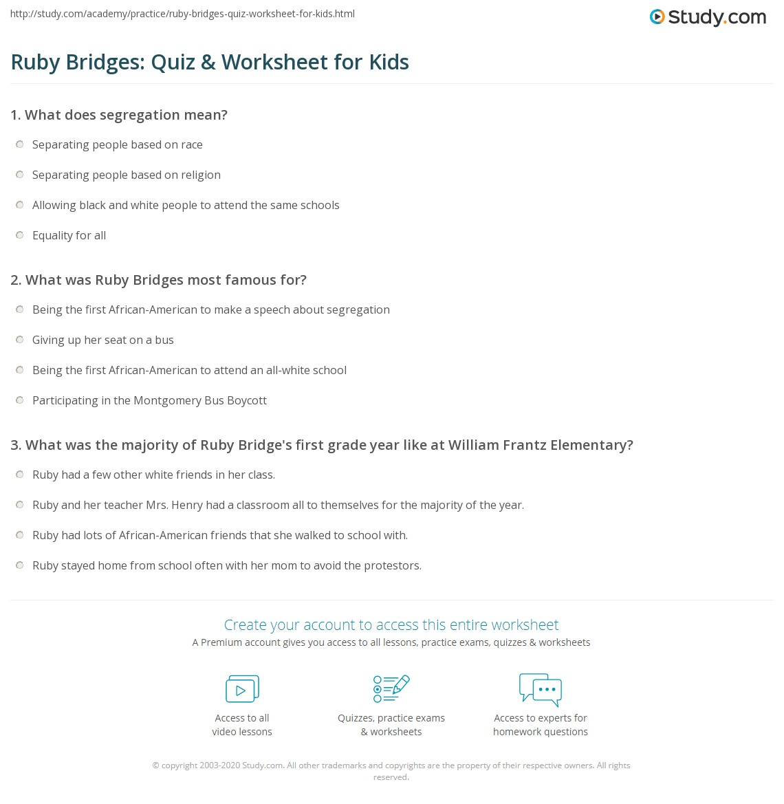Ruby Bridges Quiz Amp Worksheet For Kids