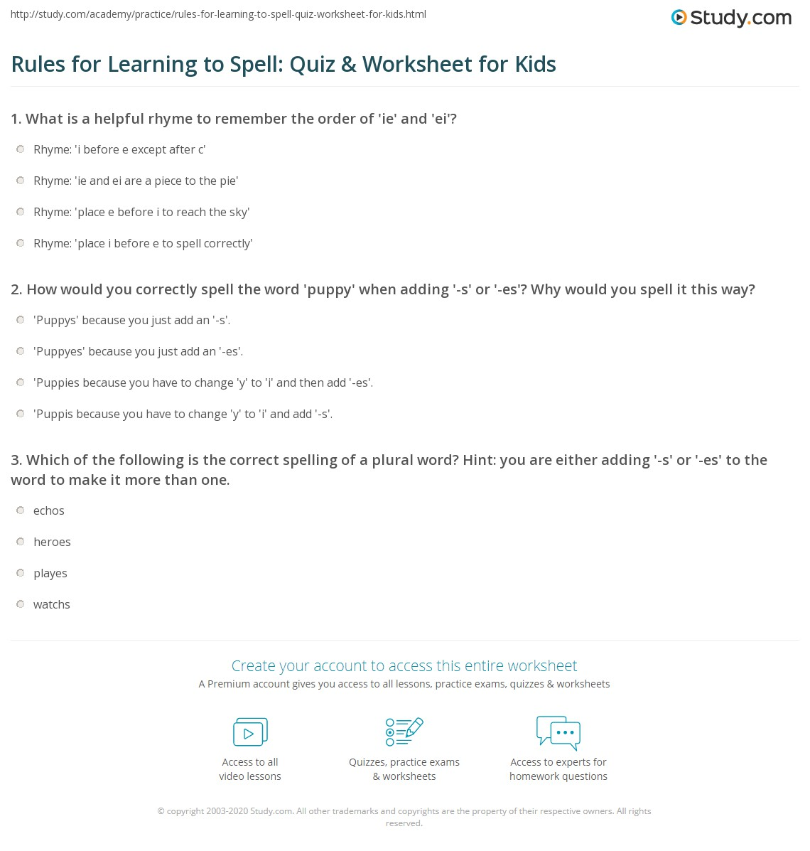 Rules For Learning To Spell Quiz Amp Worksheet For Kids
