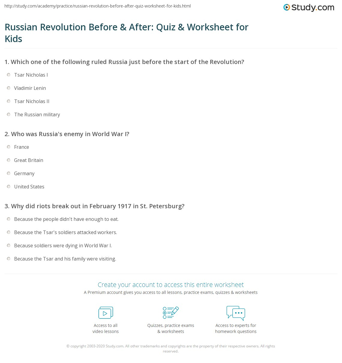 Russian Revolution Before Amp After Quiz Amp Worksheet For