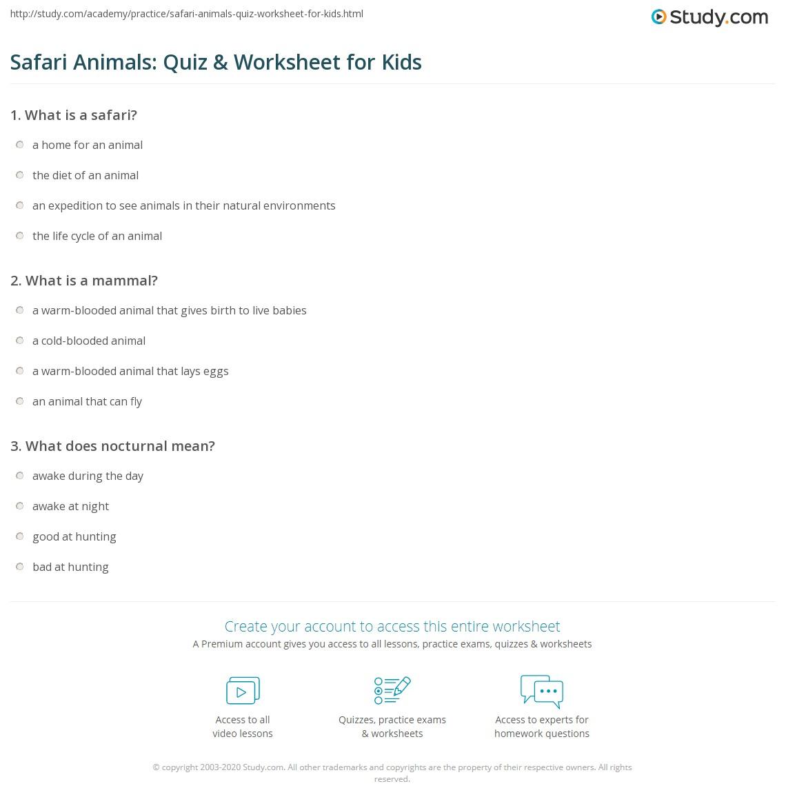 Safari Animals Quiz Amp Worksheet For Kids