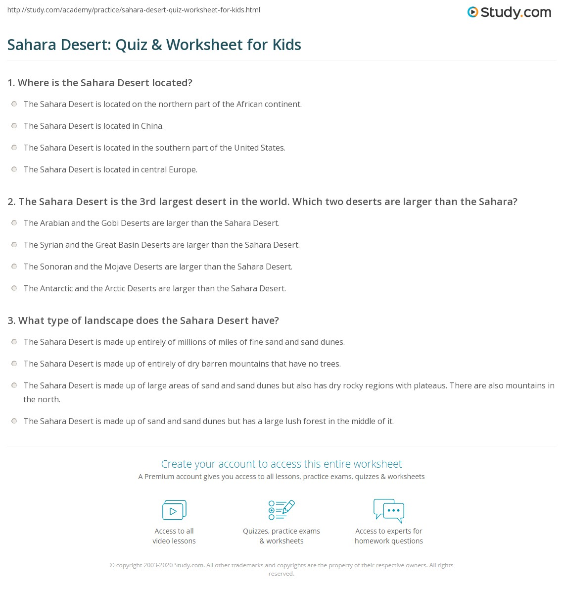 Sahara Desert Quiz Amp Worksheet For Kids
