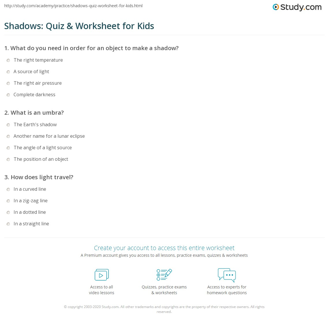 Shadows Quiz Amp Worksheet For Kids