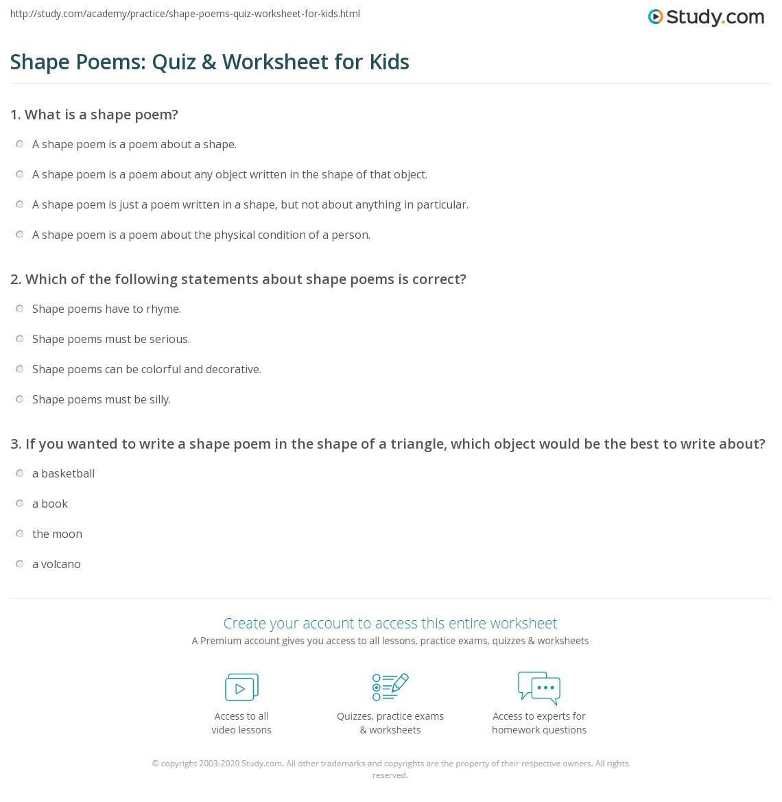 Shape Poems Quiz Amp Worksheet For Kids