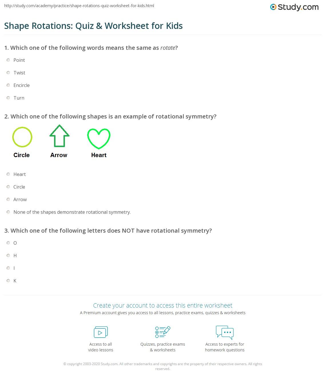 Shape Rotations Quiz Amp Worksheet For Kids