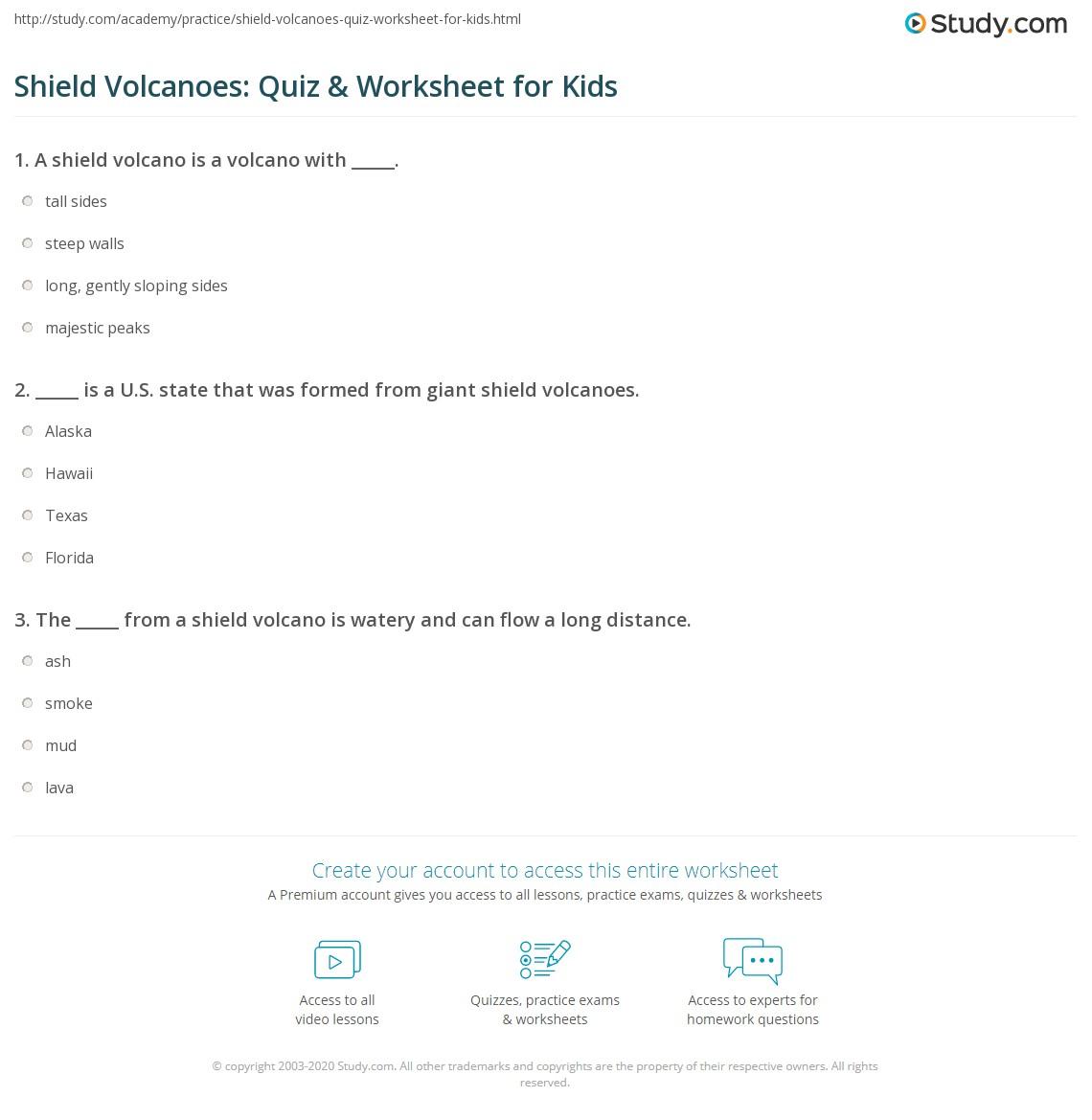 Shield Volcanoes Quiz Amp Worksheet For Kids