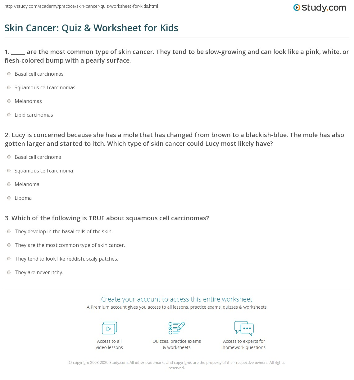 Skin Cancer Quiz Amp Worksheet For Kids