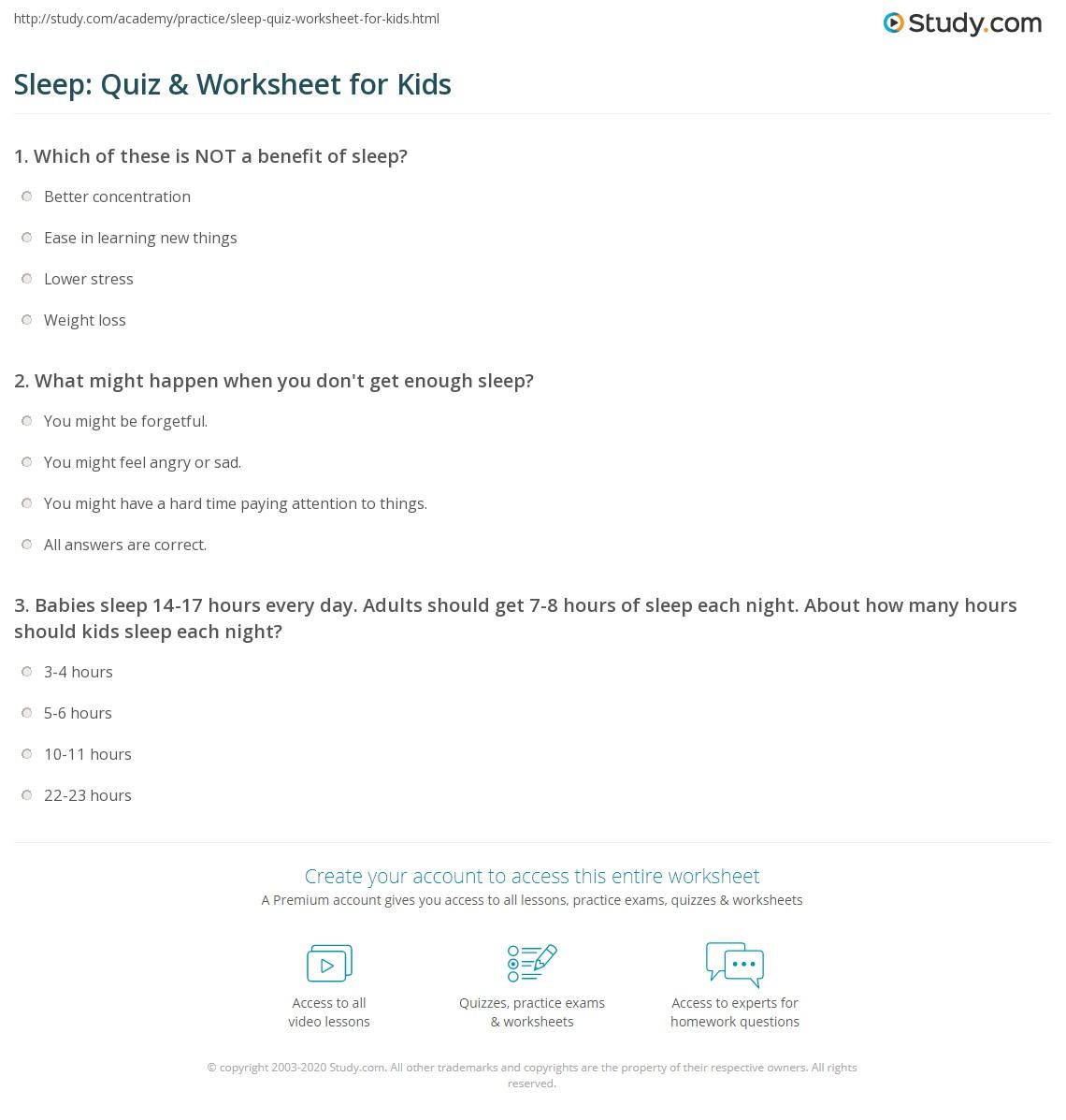 Sleep Quiz Amp Worksheet For Kids
