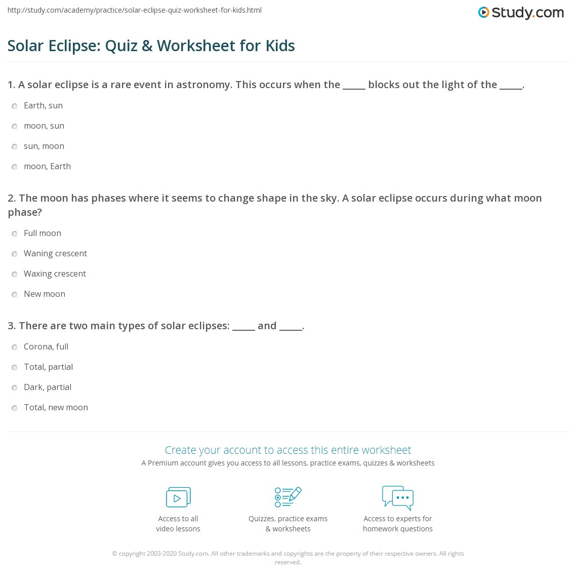 Solar Eclipse Quiz Amp Worksheet For Kids