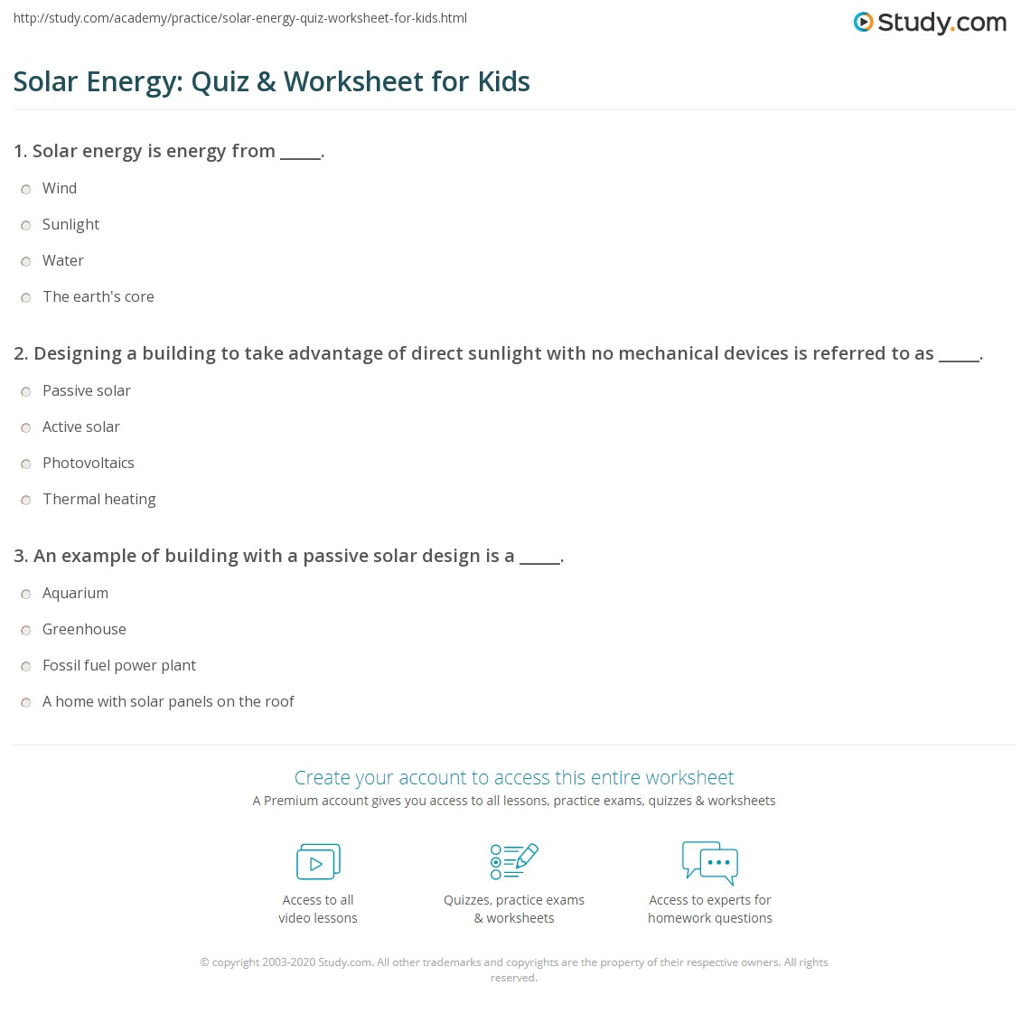Solar Energy Quiz Amp Worksheet For Kids