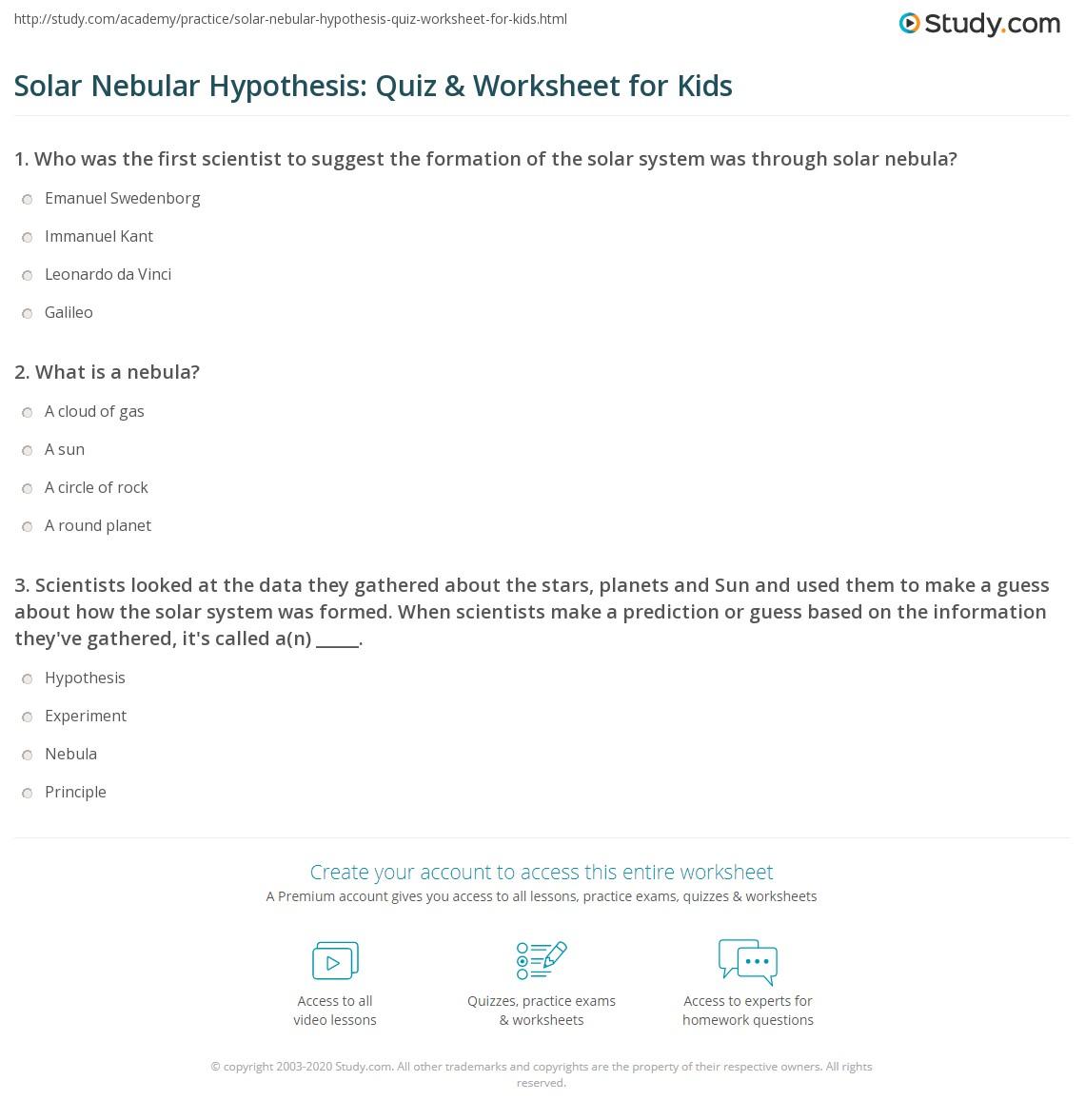 Solar Nebular Hypothesis Quiz Amp Worksheet For Kids
