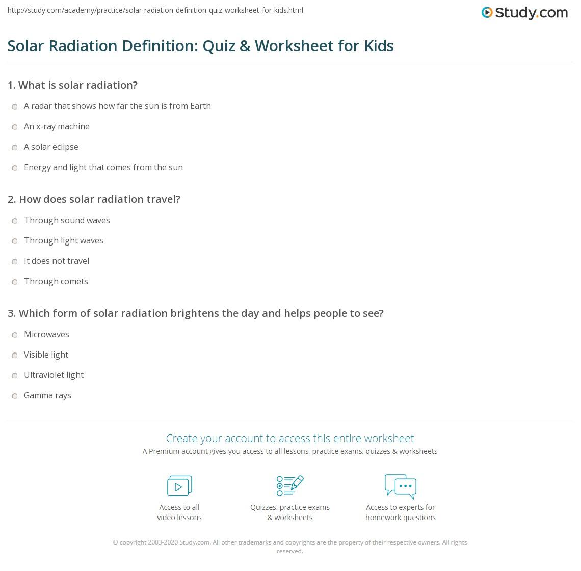 Solar Radiation Definition Quiz Amp Worksheet For Kids
