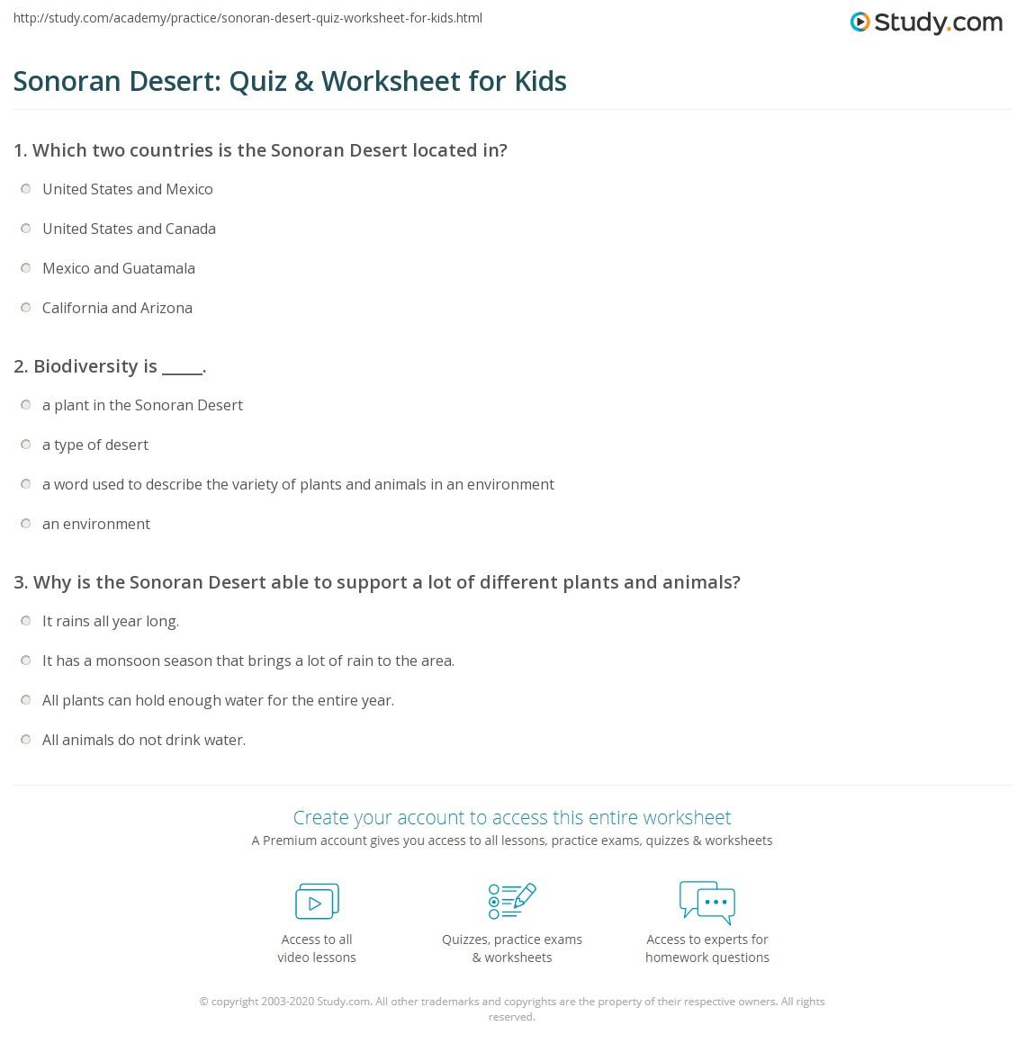 Sonoran Desert Quiz Amp Worksheet For Kids