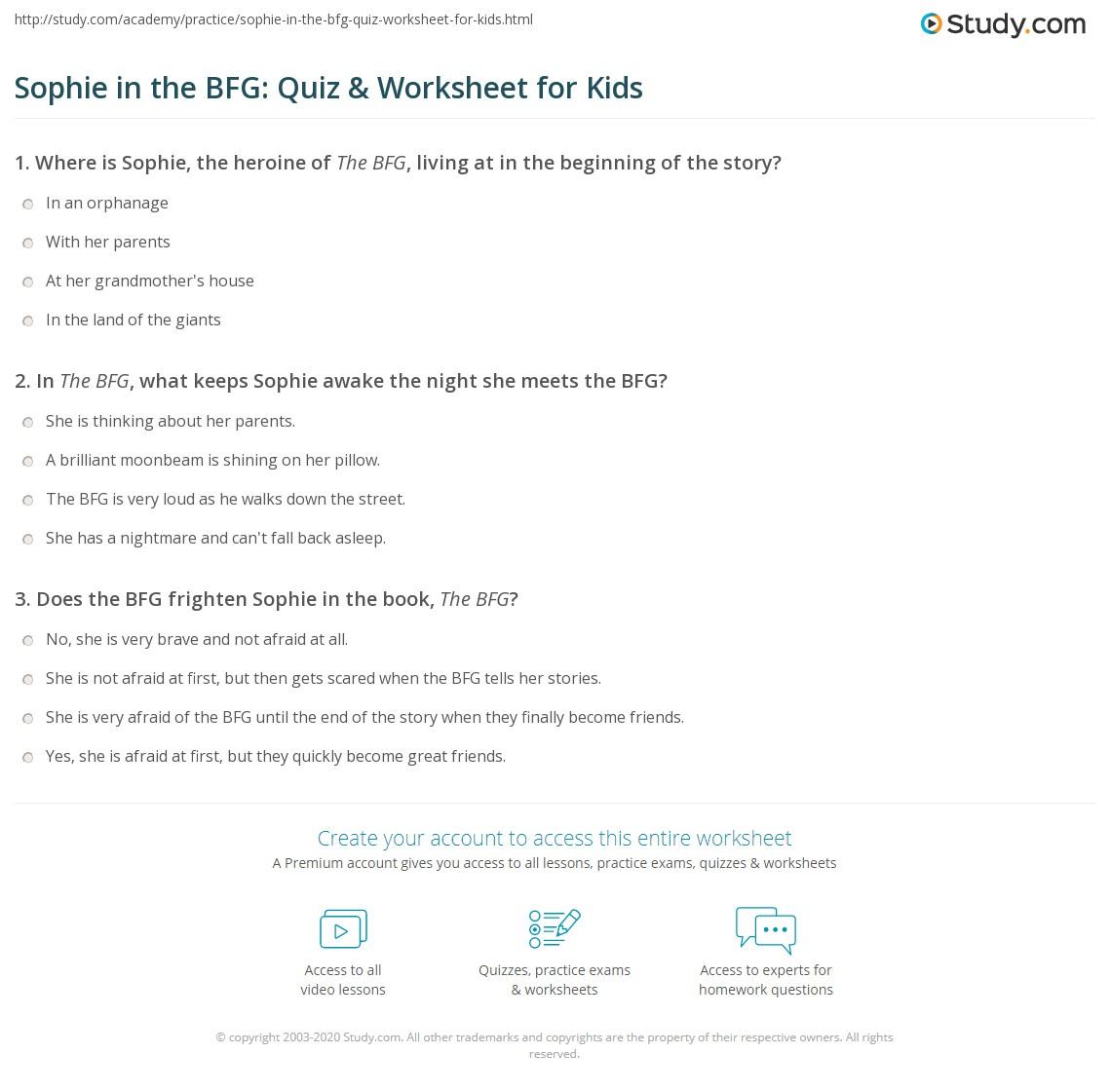 Sophie In The Bfg Quiz Amp Worksheet For Kids