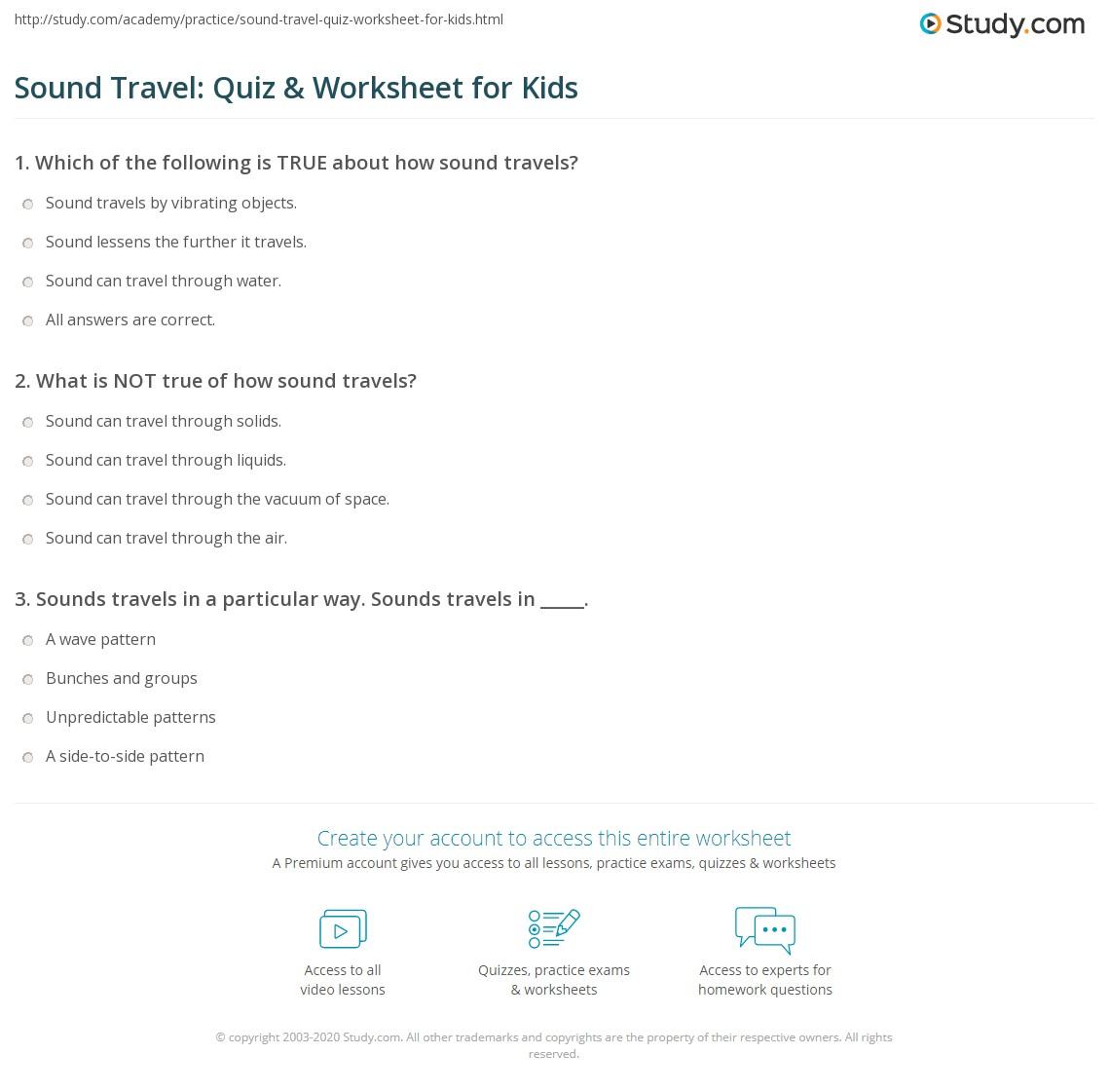 Sound Travel Quiz Amp Worksheet For Kids