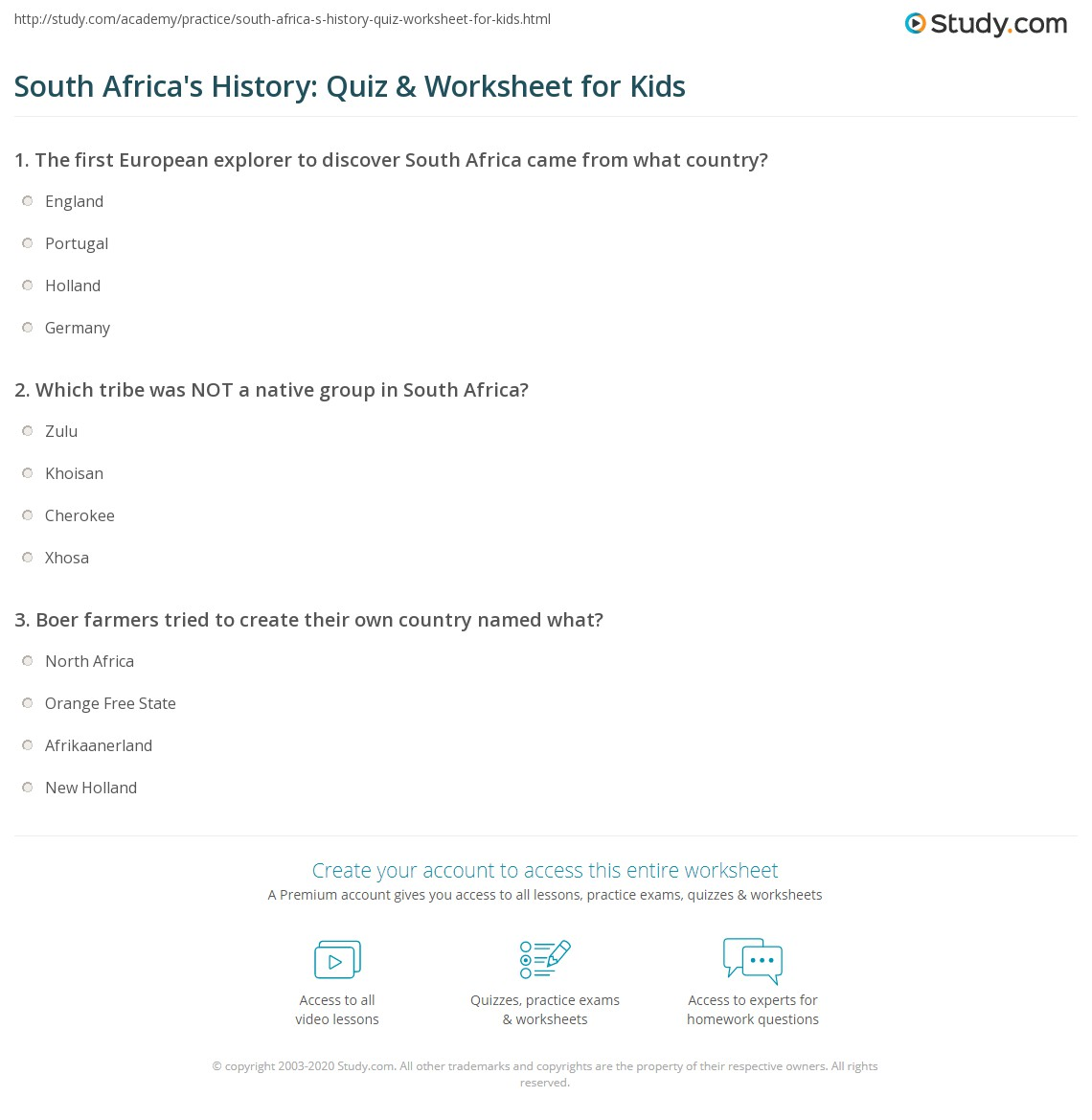 South Africa S History Quiz Amp Worksheet For Kids