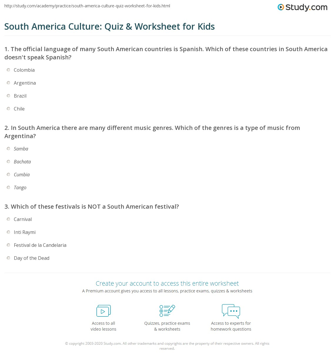 South America Culture Quiz Amp Worksheet For Kids
