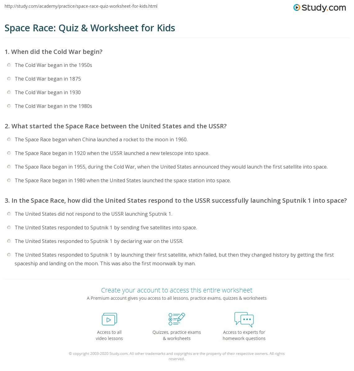 Space Race Quiz Amp Worksheet For Kids