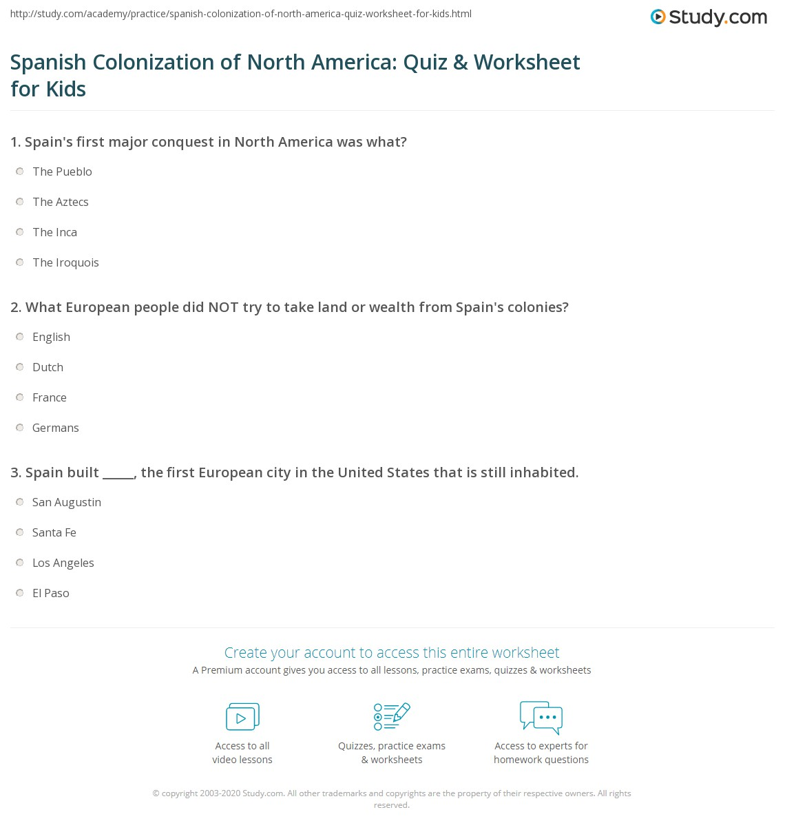 Spanish Colonization Of North America Quiz Amp Worksheet