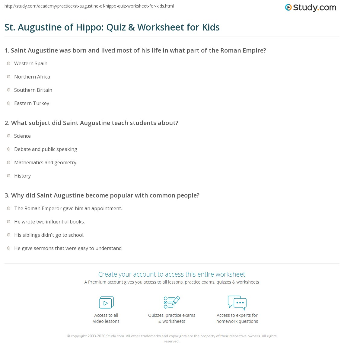 St Augustine Of Hippo Quiz Amp Worksheet For Kids