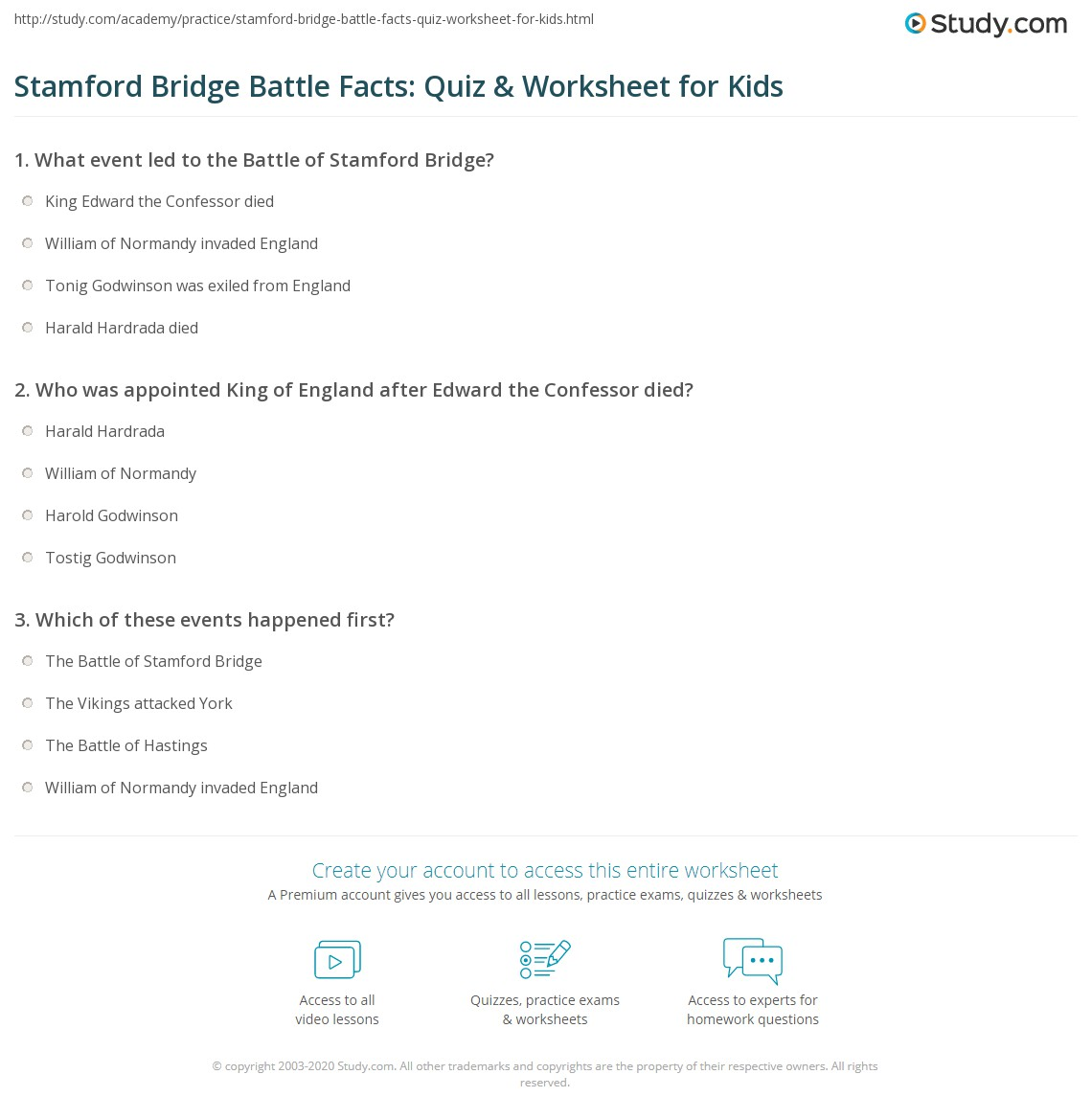 Stamford Bridge Battle Facts Quiz Amp Worksheet For Kids