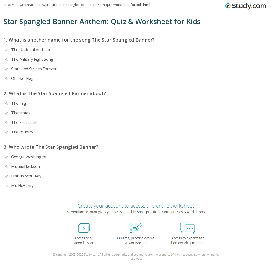 Star Spangled Banner Anthem Quiz Amp Worksheet For Kids